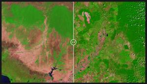 """איבוד שטחי יער בקמבודיה: ימין - 20.2.1999, שמאל - 5.2.2017. מקור: אתר נאס""""א"""