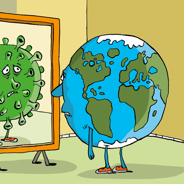 איור כדור הארץ במראת הקורונה